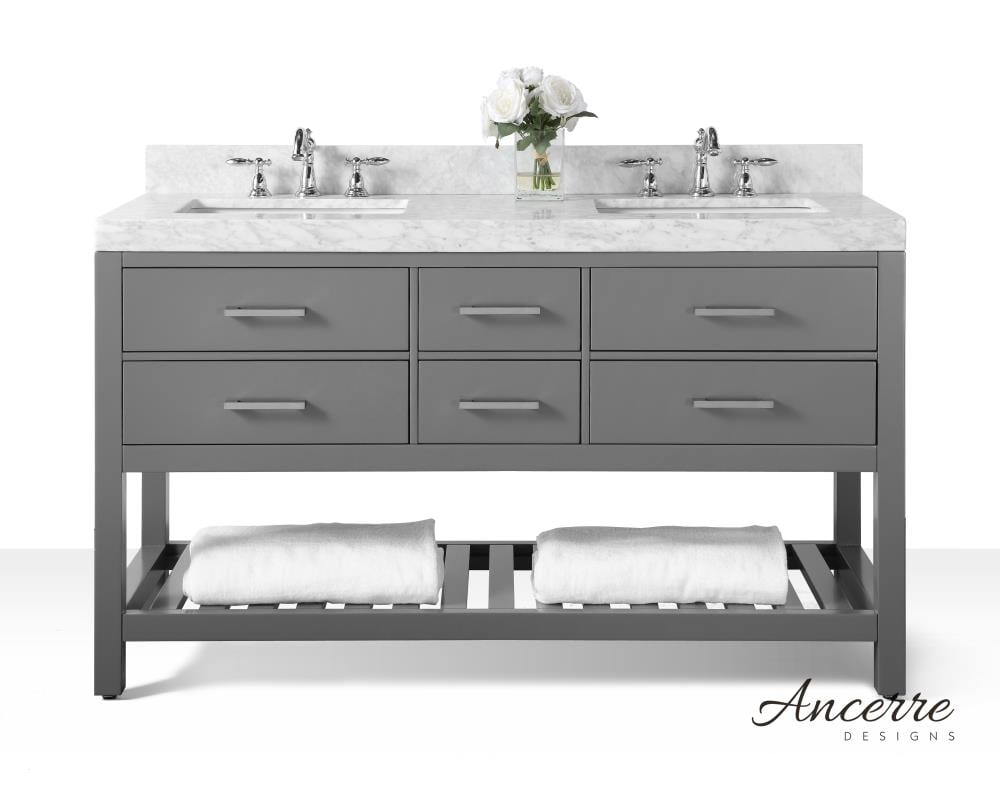 Ancerre Designs Elizabeth 20 in Sapphire Gray Undermount Double Sink  Bathroom Vanity with White Natural Marble Top