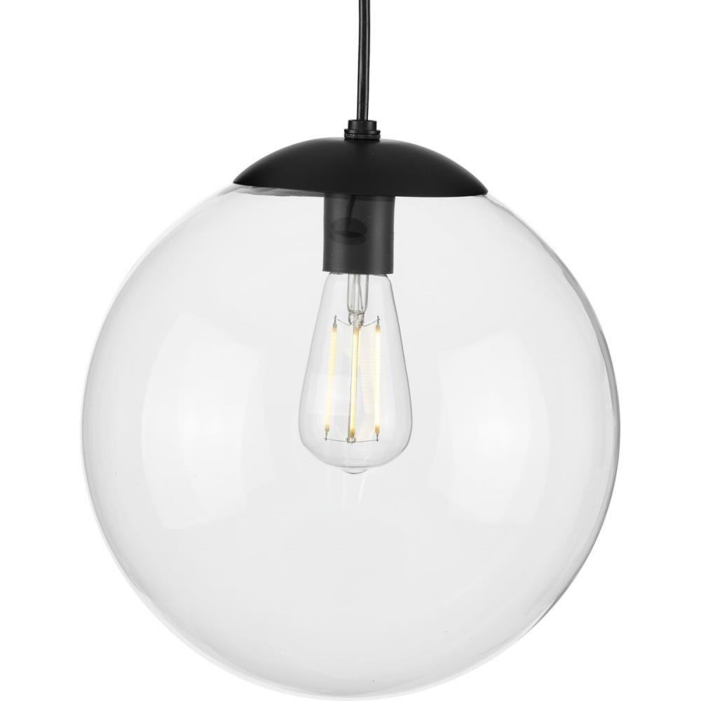 Progress Lighting Atwell Matte Black Mid Century Clear Glass Globe Medium  21 21 in Pendant Light