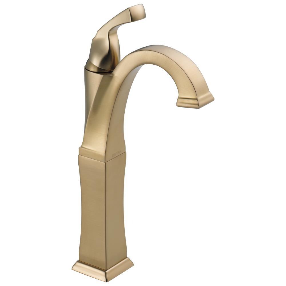 Delta Dryden Champagne Bronze 20 Handle Vessel WaterSense Bathroom Sink  Faucet