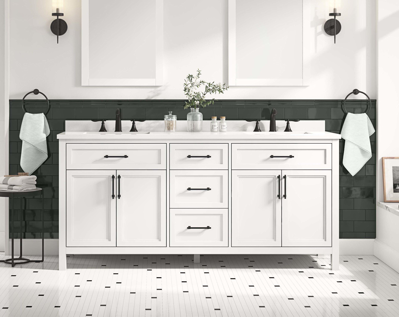 allen + roth Brinkhaven 20 in White Undermount Double Sink Bathroom Vanity  with White Engineered Stone Top