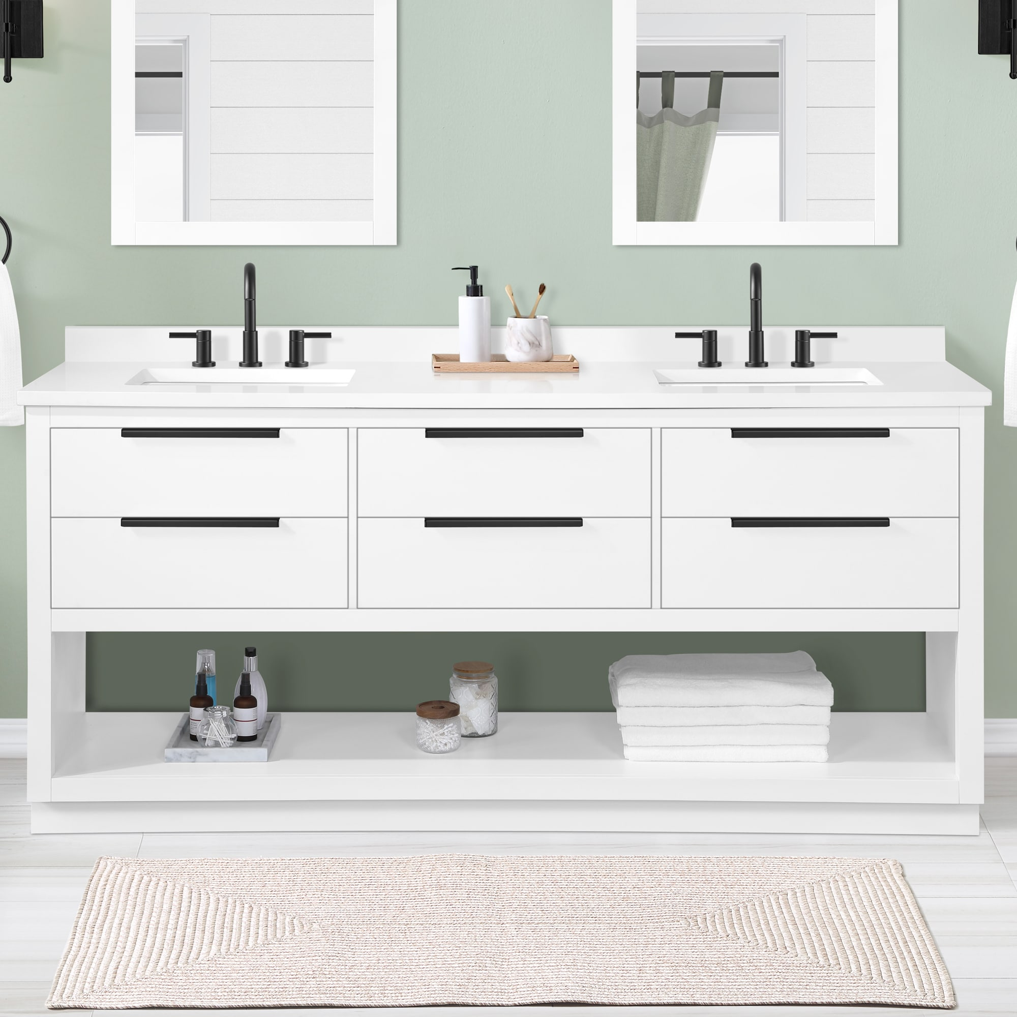 Origin 20 Beecham 20 in White Undermount Double Sink Bathroom Vanity with  White Engineered Stone Top