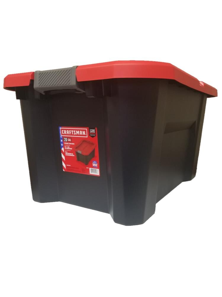 Details about  /CRAFTSMAN 10-Gallon Plastic Storage Container Black Tote with Latching Lid