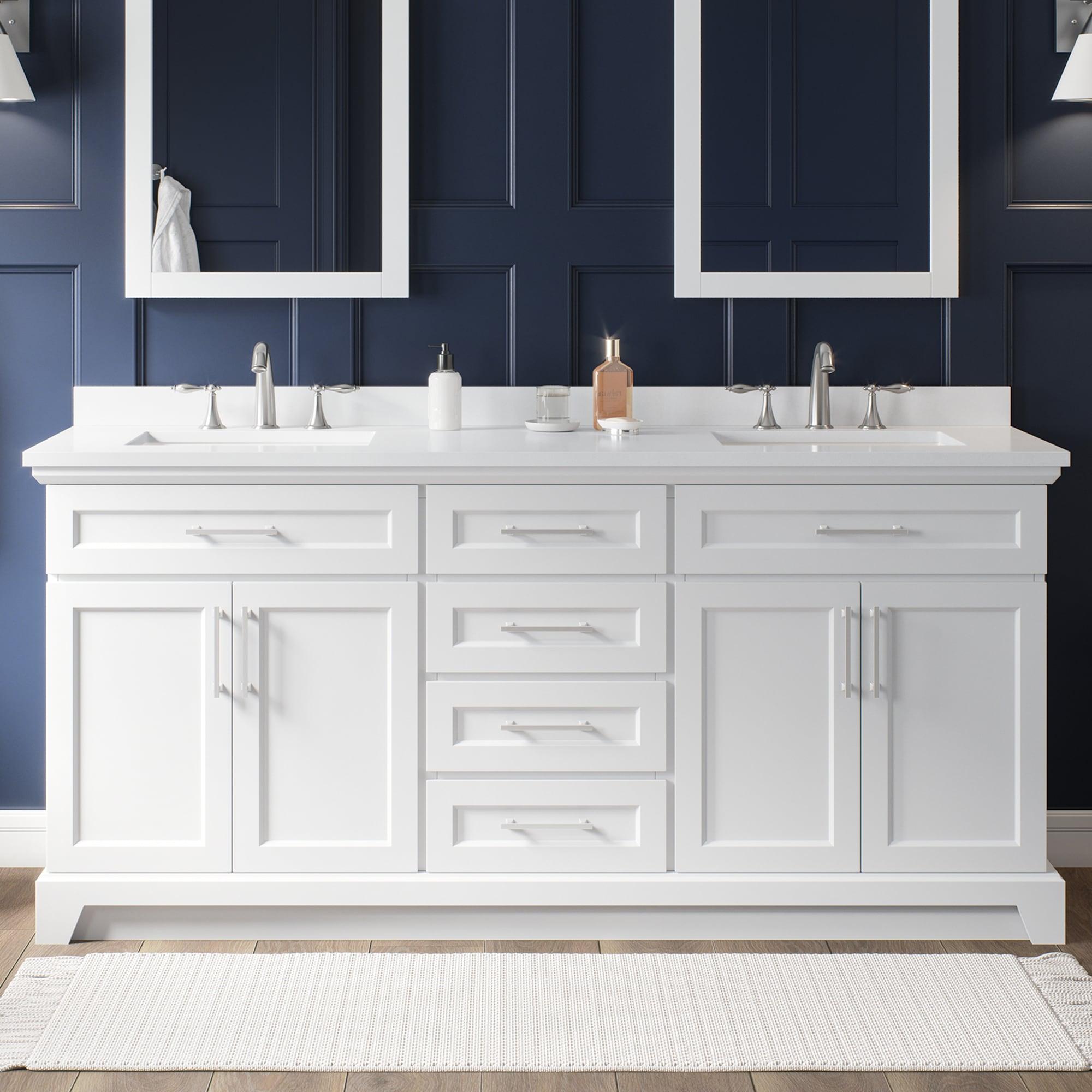allen + roth Felix 20 in White Undermount Double Sink Bathroom Vanity with  White Engineered Stone Top