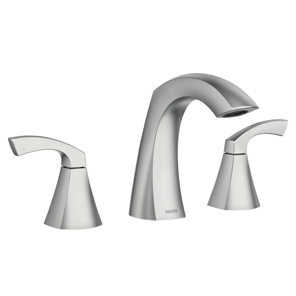 Moen Lindor Spot Resist Brushed Nickel 20 handle Widespread WaterSense  Bathroom Sink Faucet with Drain