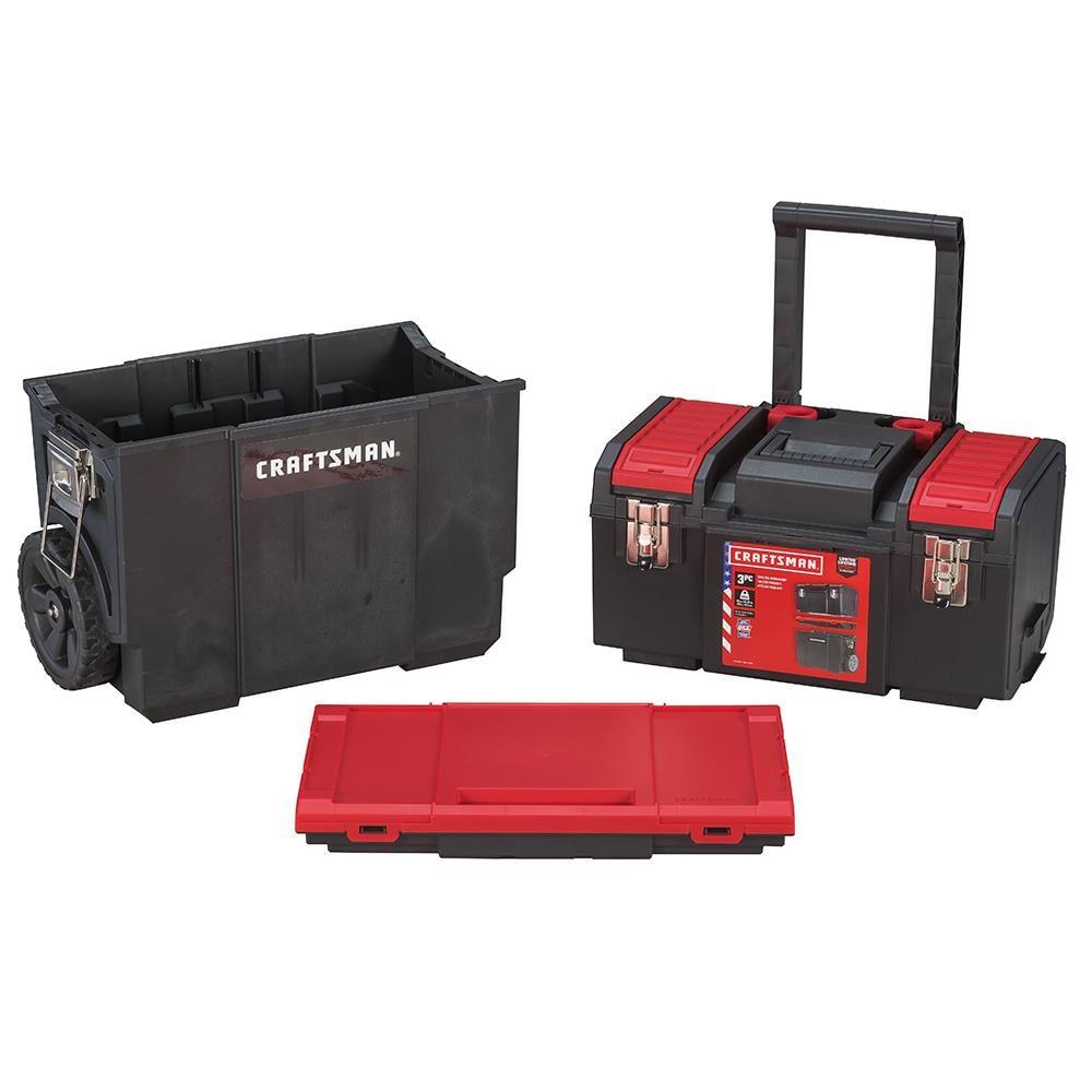 CRAFTSMAN DIY 20 in Red Plastic Wheels Lockable Tool Box in the ...