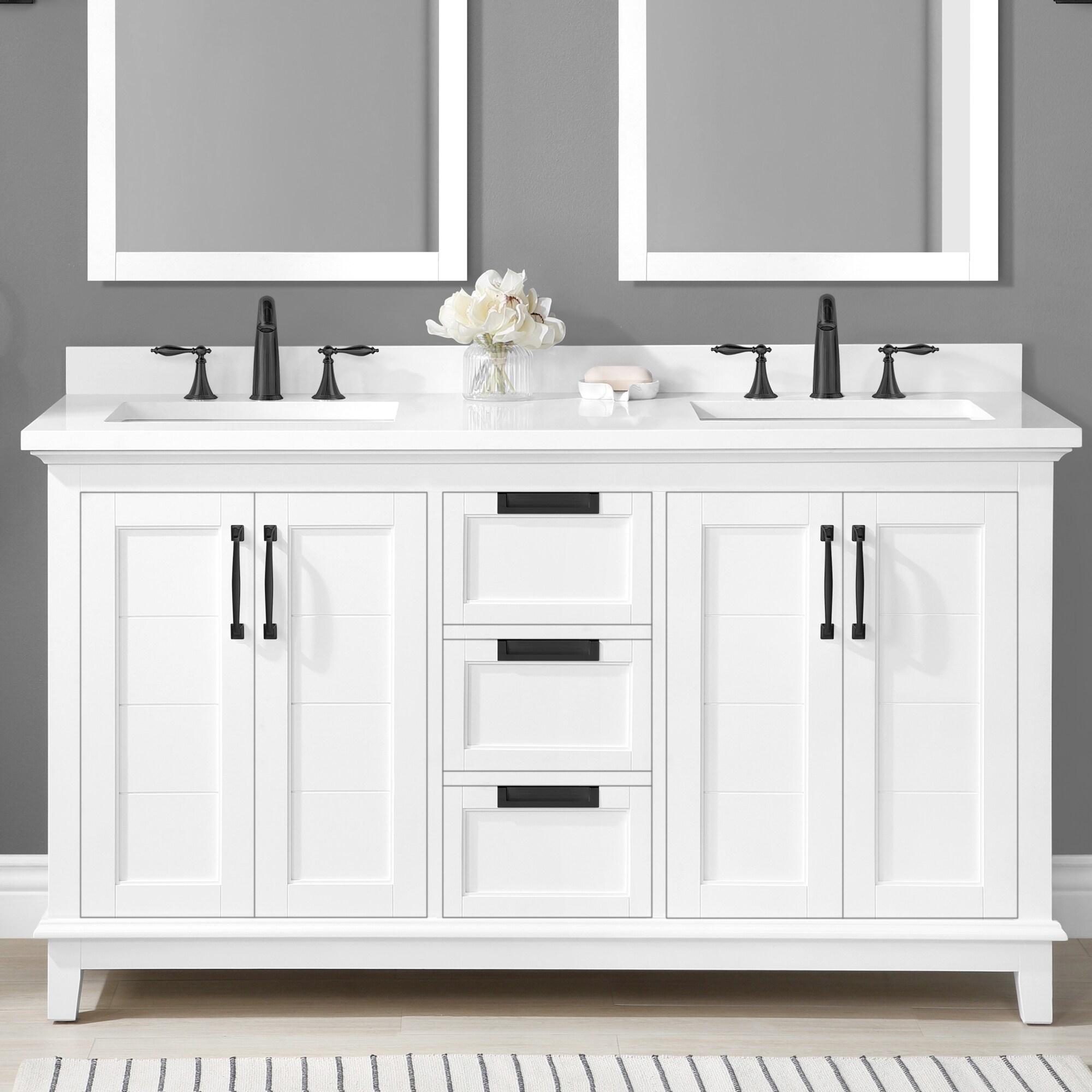 allen + roth Clarita 20 in White Undermount Double Sink Bathroom ...