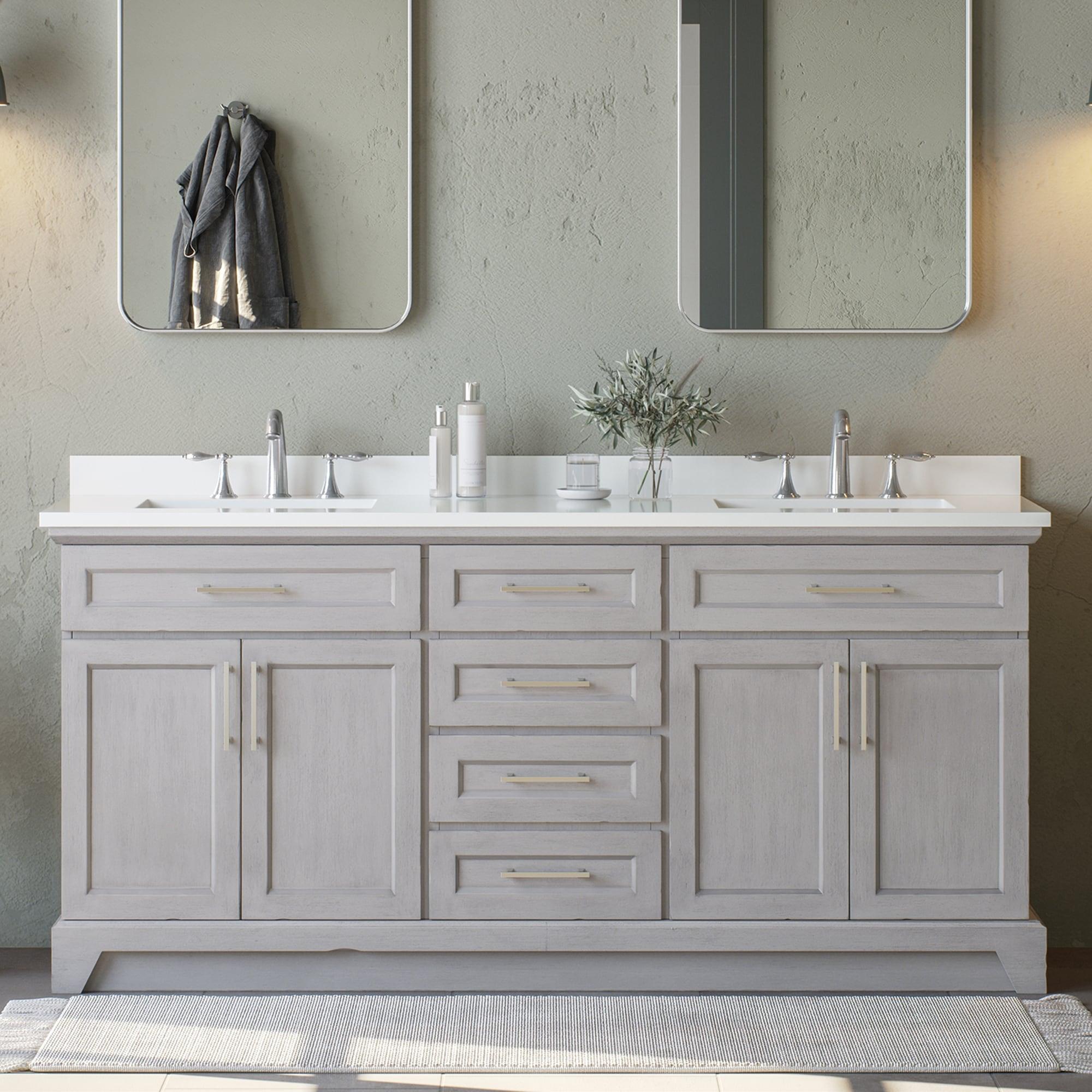 allen + roth Felix 20 in Vintage Gray Undermount Double Sink Bathroom  Vanity with White Engineered Stone Top