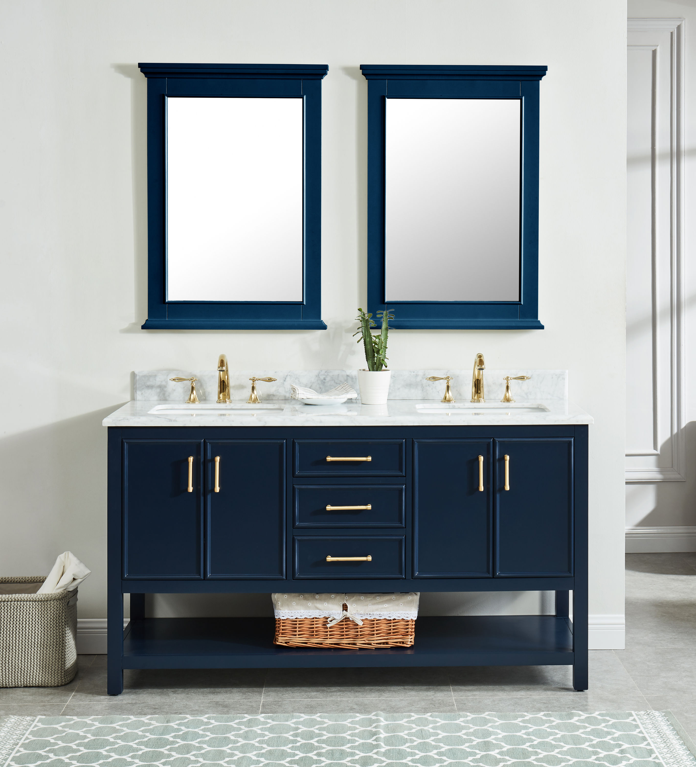 allen + roth Presnell 20 in Navy Blue Undermount Double Sink Bathroom  Vanity with Carrara White Natural Marble Top