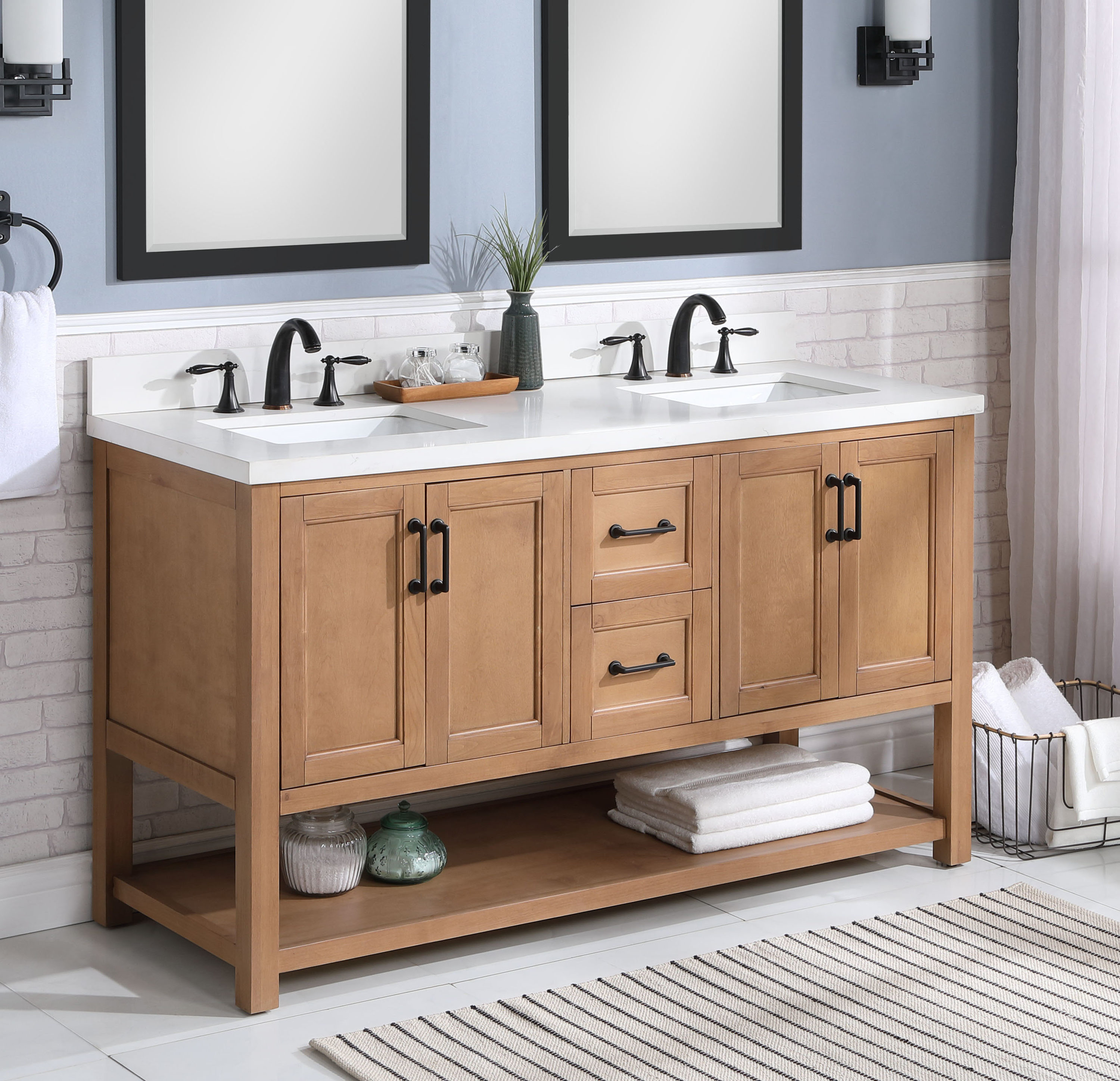 allen + roth Harwood 20 in Natural Undermount Double Sink Bathroom Vanity  with White and Gray Quartz Top