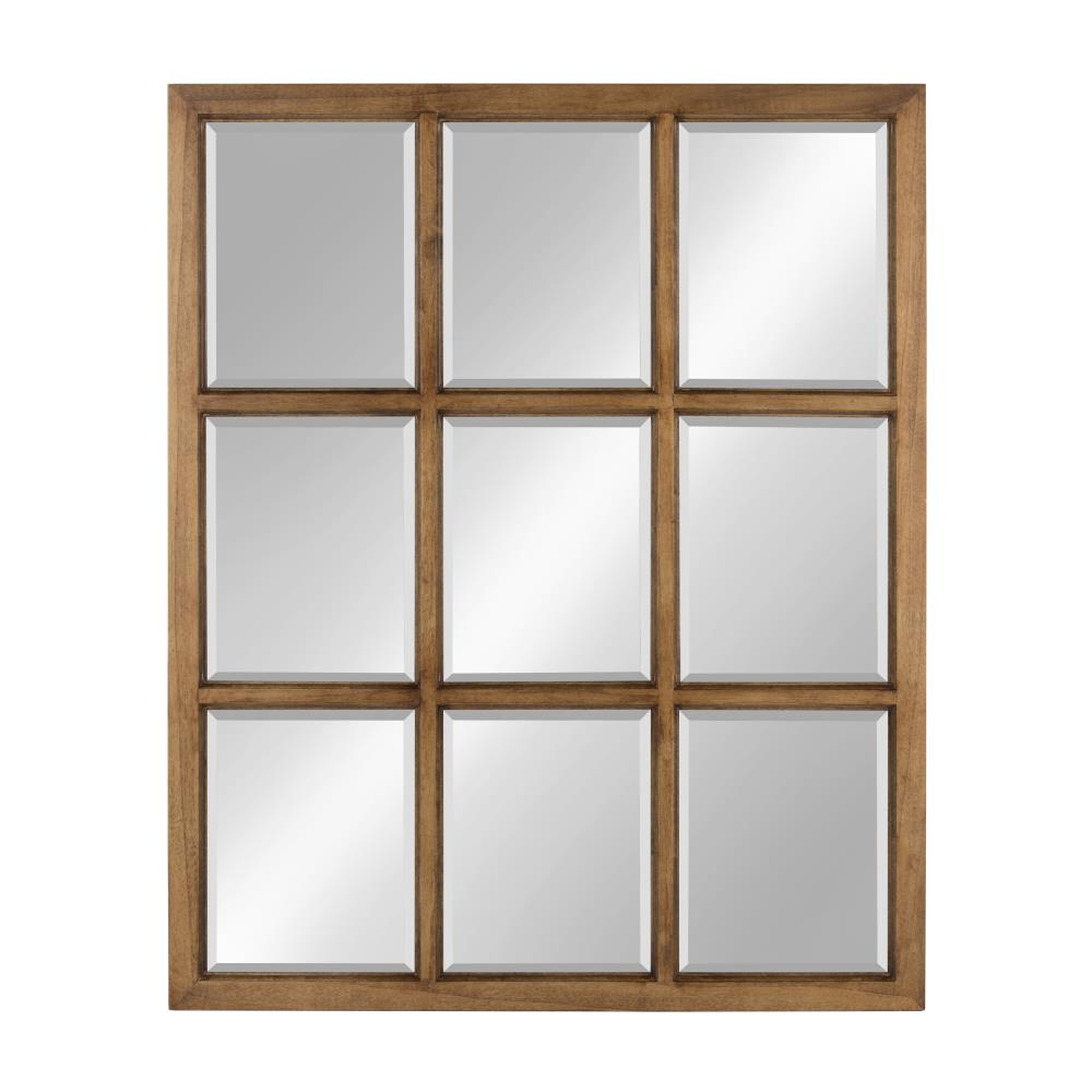 Kate and Laurel Hogan 32-in L x 26-in W Brown Framed Wall Mirror