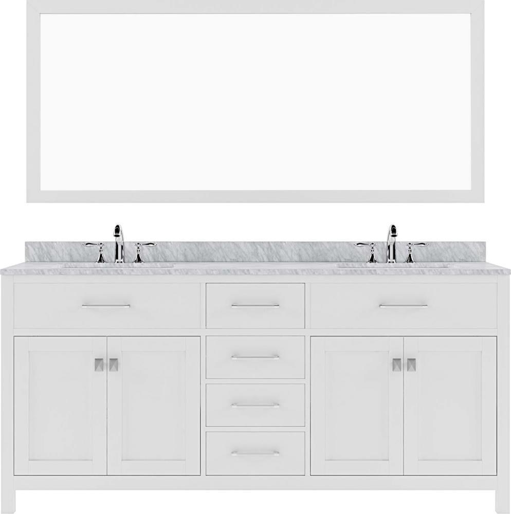 Virtu USA Caroline 20 in White Undermount Double Sink Bathroom ...