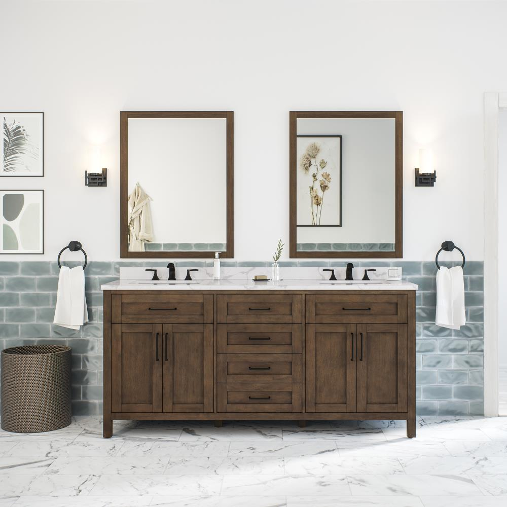 OVE Decors Tahoe 20 in Almond Latte Undermount Double Sink Bathroom Vanity  with White Engineered Stone Top Mirror Included