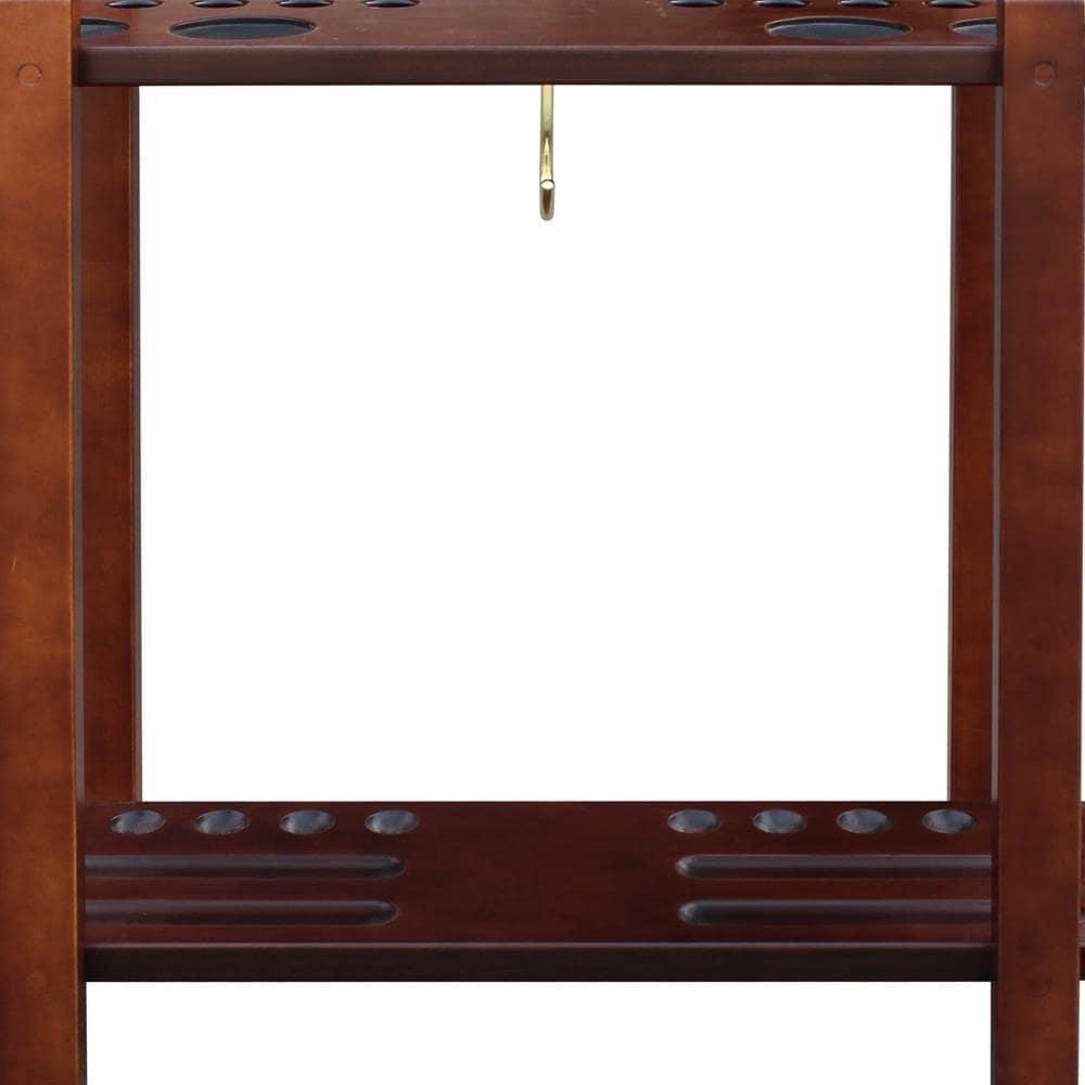 Solid Hardwood Free Standing Antique Walnut Billiard 10 Pool Cue Storage Rack