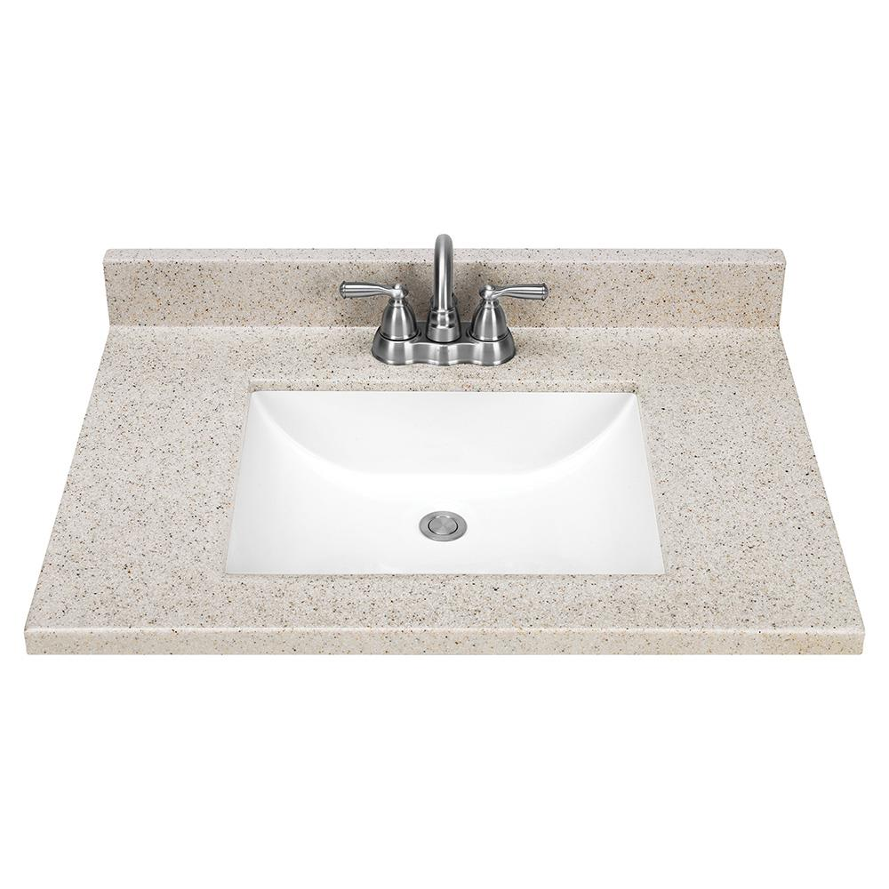 20 in Dune Solid Surface Single Sink Bathroom Vanity Top in the ...