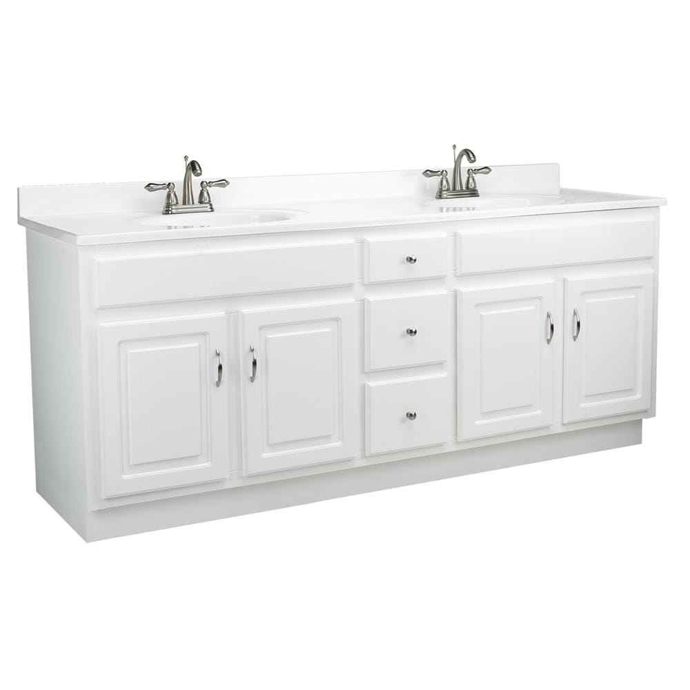 Design House Concord 20 in White Double Sink Bathroom Vanity with Solid  White Cultured Marble Top