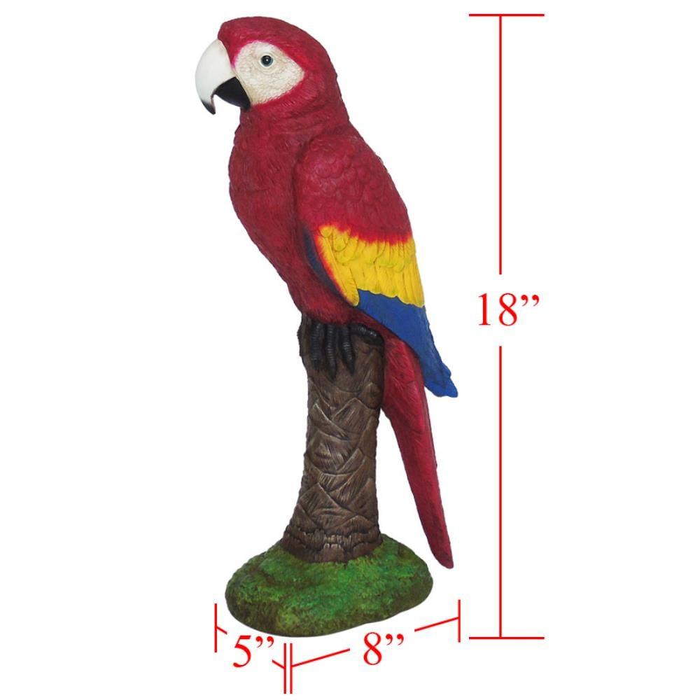 PARROT Beautiful Bird Statue Highly Detailed Stone Garden Ornament Decor