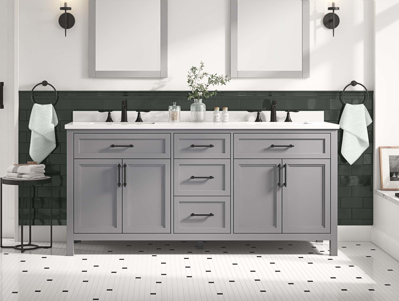 allen + roth Brinkhaven 20 in American Gray Undermount Double Sink ...