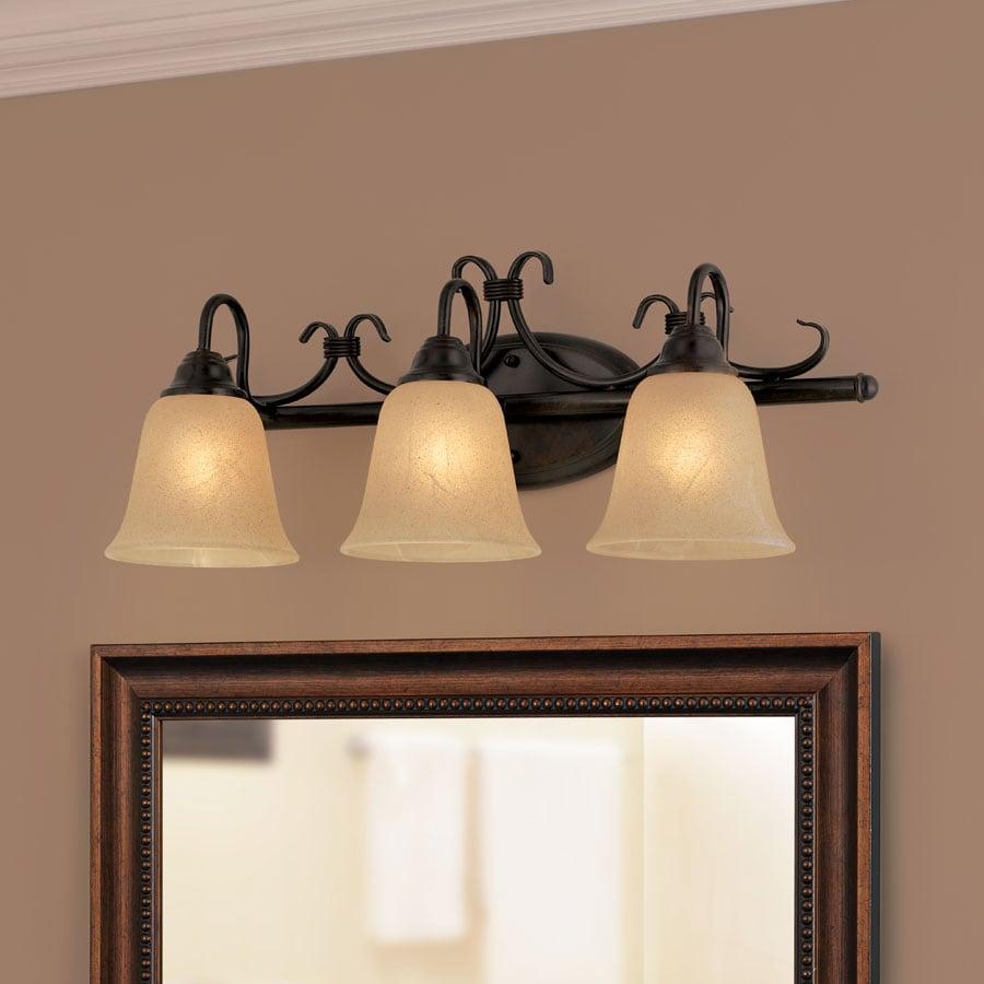 Portfolio Stone hollow 3-Light 24-in Bronze Vanity Light Bar New
