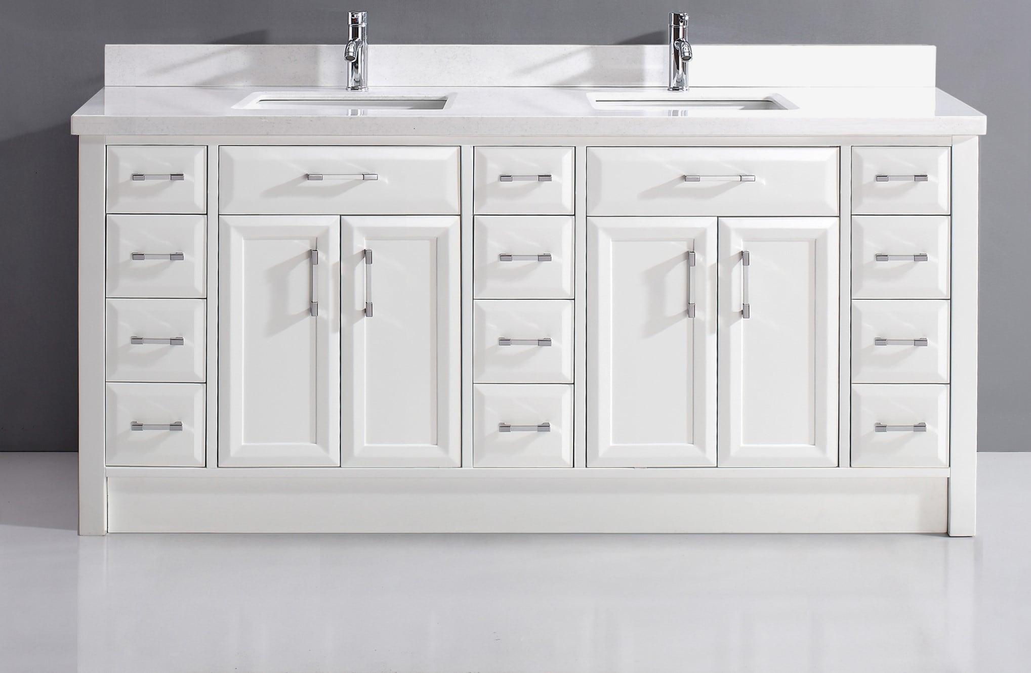 Spa Bathe Calumet 20 in White Undermount Double Sink Bathroom Vanity with  White with Grey Veins Engineered Stone Top