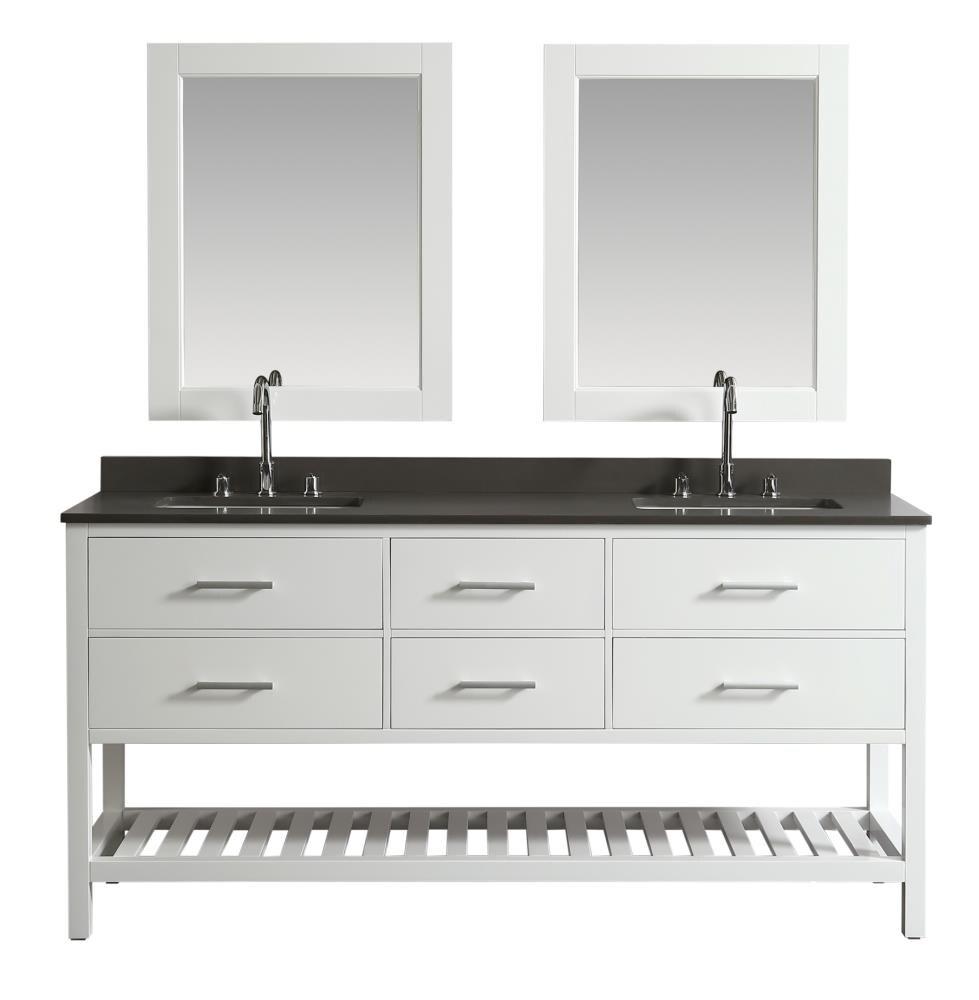 Design Element London 20 in White Undermount Double Sink Bathroom ...