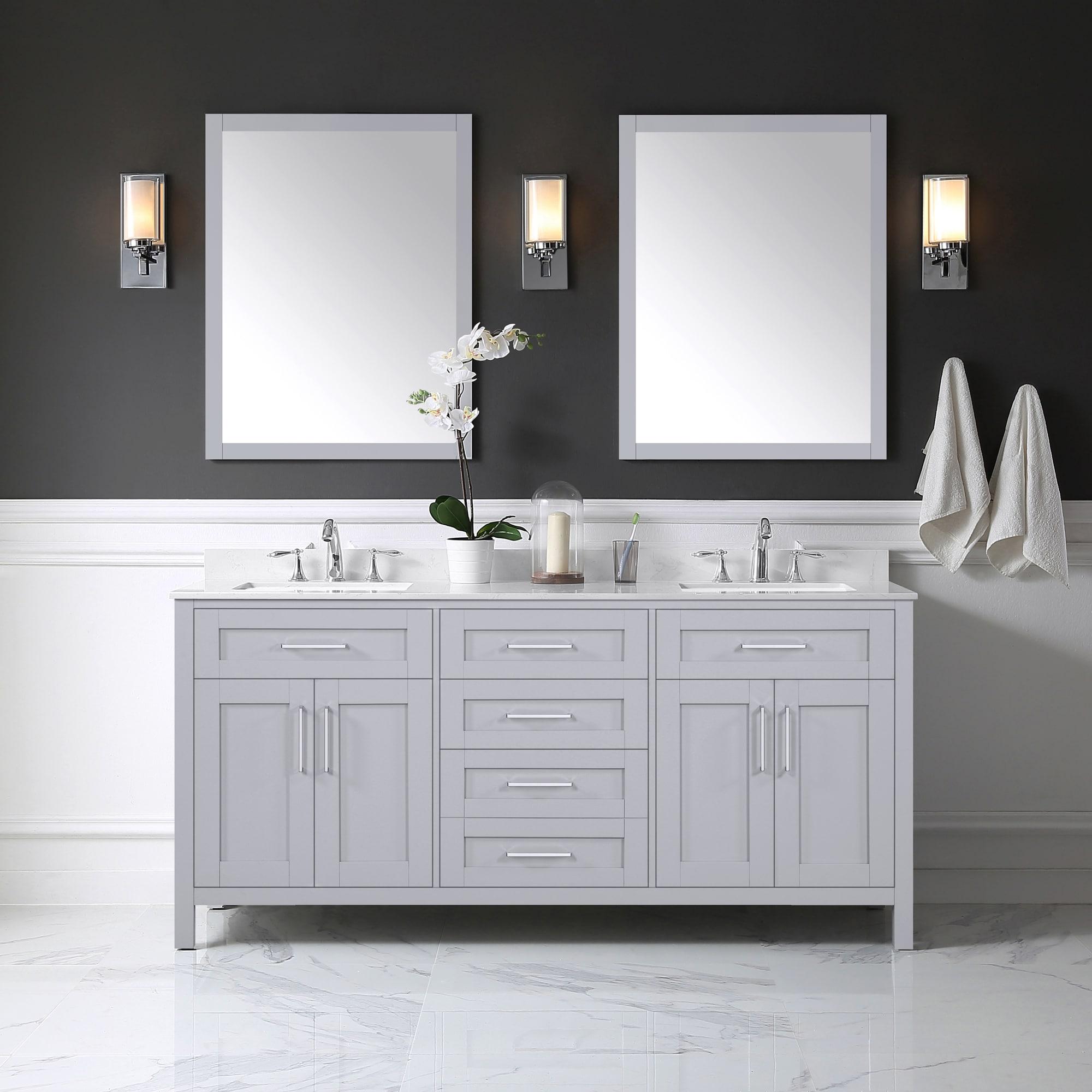 OVE Decors Tahoe 20 in Dove Gray Undermount Double Sink Bathroom ...