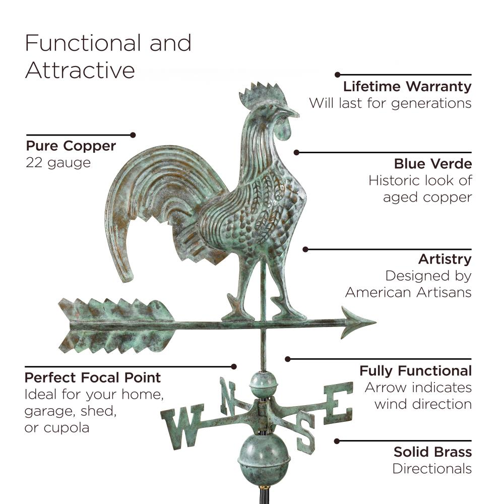 Weathervane Rooster Blue Verde Copper Roof Mount Metal Rod Solid Brass Home