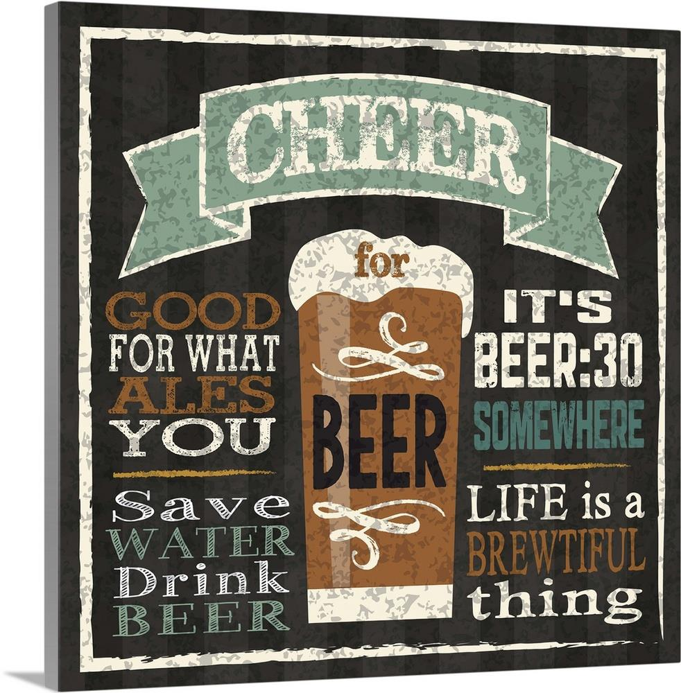 GreatBigCanvas Cheer for Beer by Melody Hogan 36-in H x 36-in W ...