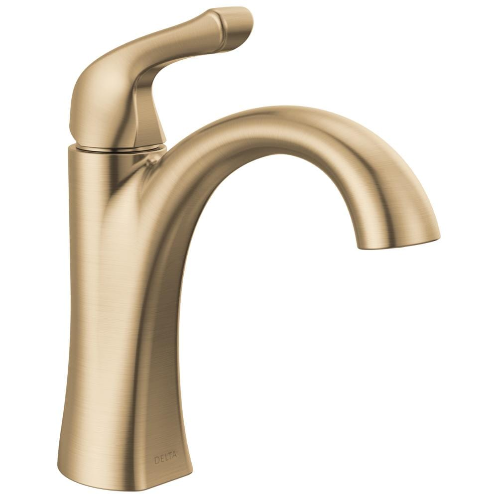 Delta Arvo Champagne Bronze 20 Handle Single Hole WaterSense Bathroom Sink  Faucet with Drain and Deck Plate