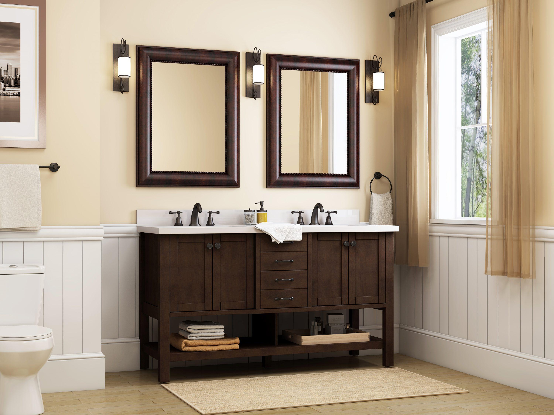 allen + roth Kingscote 20 in Espresso Undermount Double Sink Bathroom  Vanity with White Engineered Stone Top