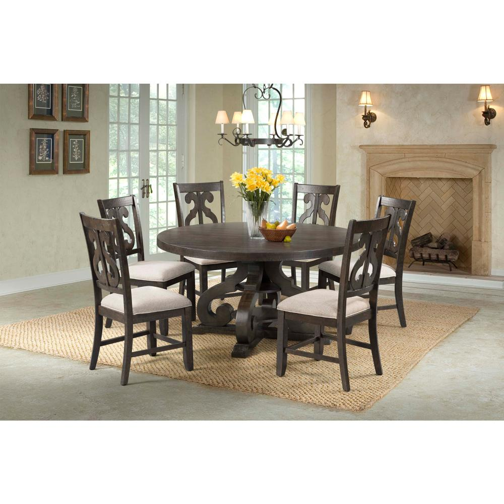 Picket House Furnishings Picket House Furnishings Stanford Round 9PC Dining  Set Round Table and 9 Chairs