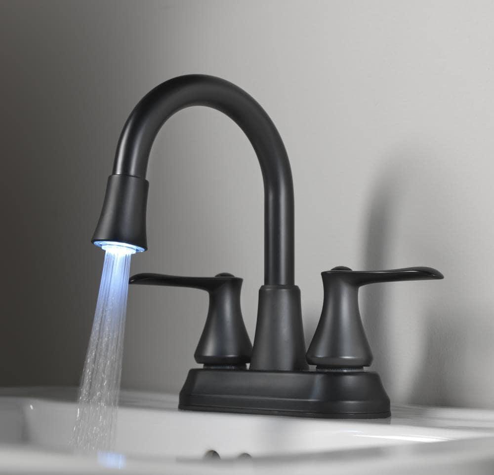 Homewerks Worldwide LED aerator Matte Black 20 Handle 20 in Minispread  WaterSense Bathroom Sink Faucet with Drain