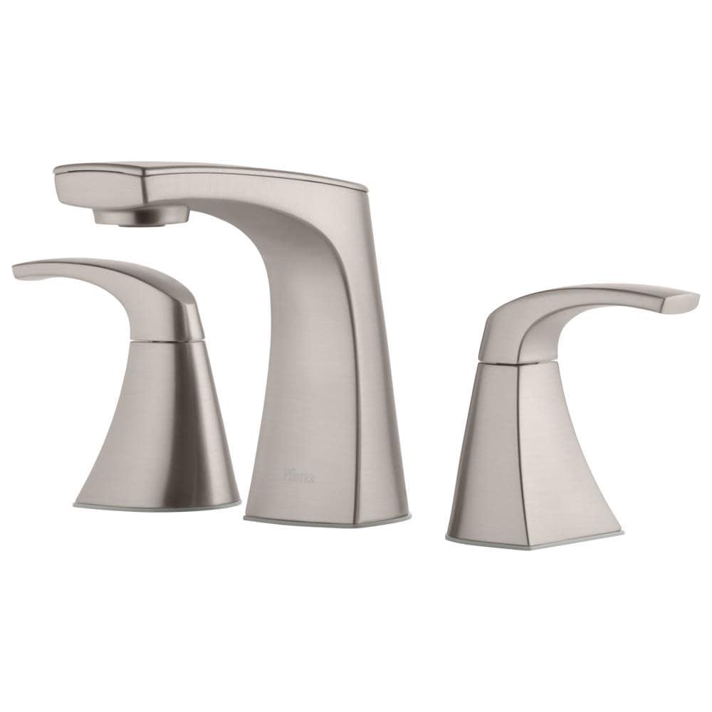 Pfister Karci Spot Defense Brushed Nickel 20 Handle 20 in Widespread  WaterSense Bathroom Sink Faucet with Drain