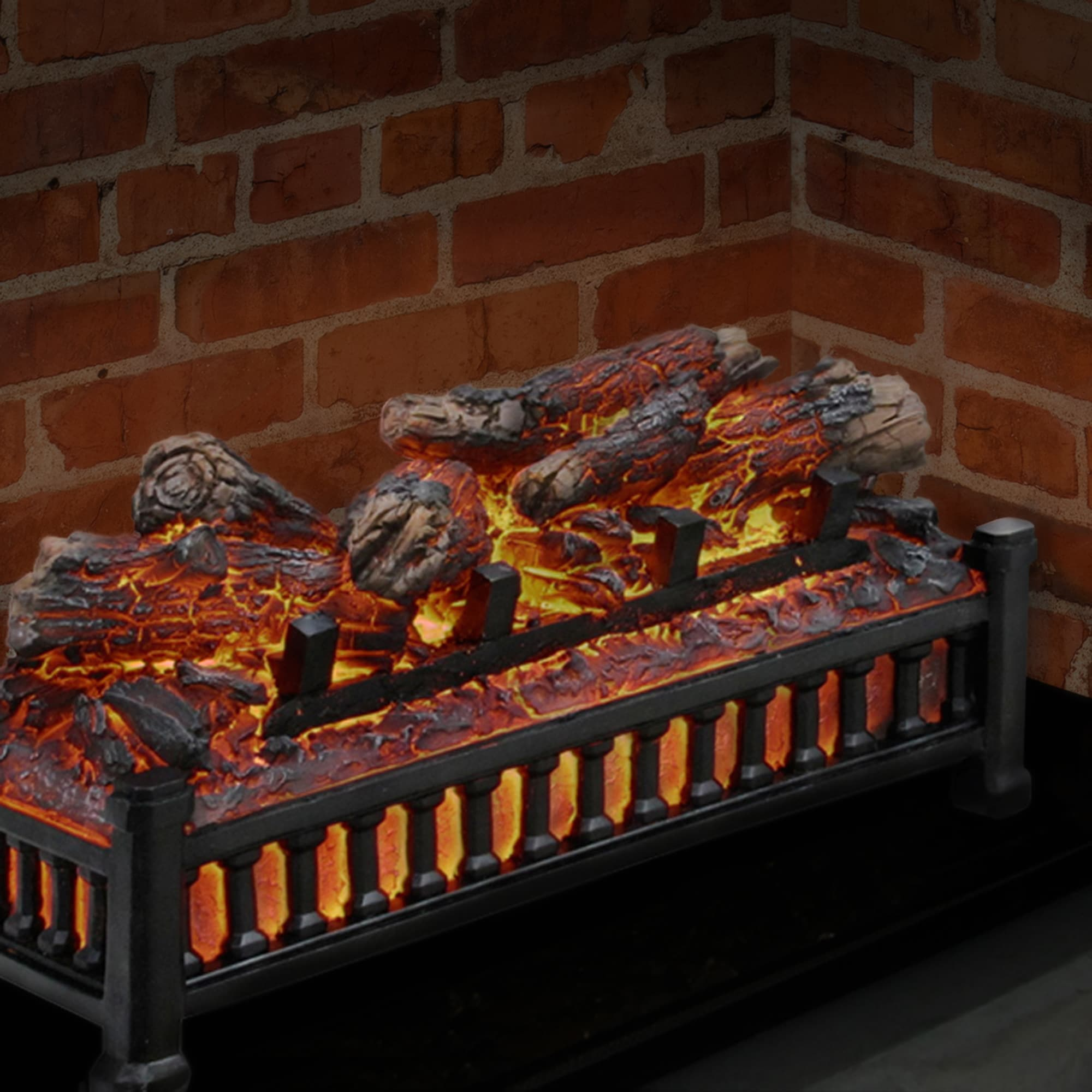 Pleasant Hearth 20.20 in W Black Electric Fireplace Logs in the ...