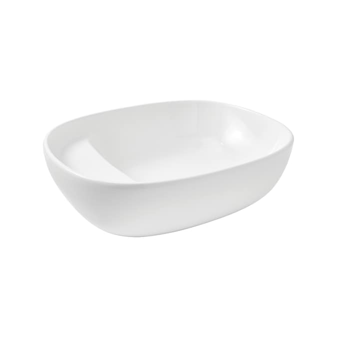 Mansfield Liquid White Vessel Oval Trough Bathroom Sink 14 687 In X 18 25 In In The Bathroom Sinks Department At Lowes Com