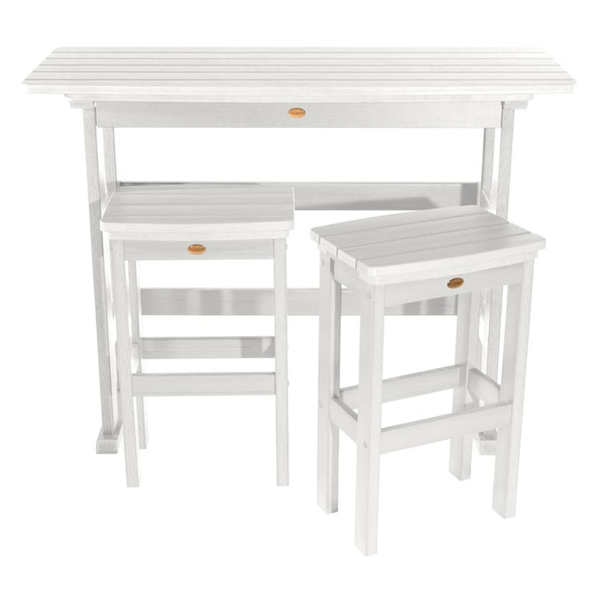 Highwood The Lehigh Collection 3 Piece White Frame Bar Height Patio Set With Bar Height In The Patio Dining Sets Department At Lowes Com