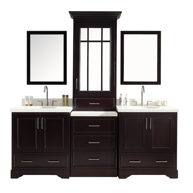 Ariel Stafford 85 In Espresso Undermount Double Sink Bathroom Vanity With White Quartz Top Mirror Included In The Bathroom Vanities With Tops Department At Lowes Com