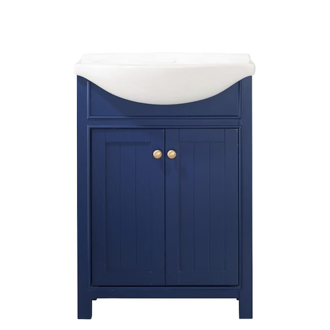 Design Element Marian 24 In Blue Single Sink Bathroom Vanity With White Porcelain Top In The Bathroom Vanities With Tops Department At Lowes Com