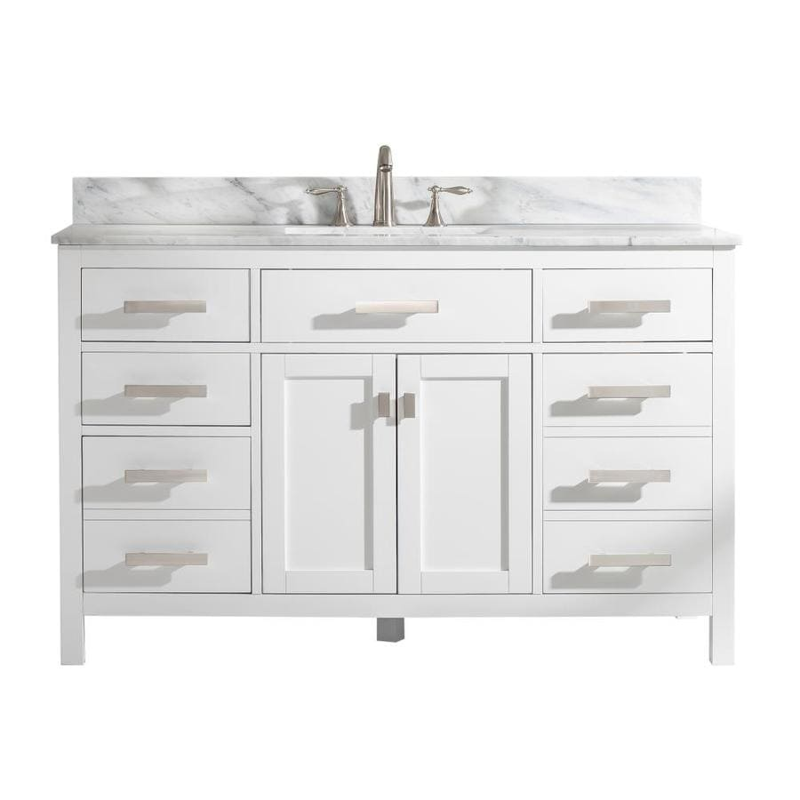 Design Element Valentino 54-in White Single Sink Bathroom Vanity With White  Natural Marble Top In The Bathroom Vanities With Tops Department At  Lowes.com