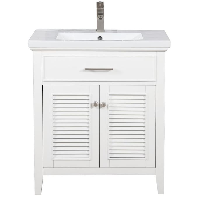 Design Element Cameron 30 In White Single Sink Bathroom Vanity With White Porcelain Top In The Bathroom Vanities With Tops Department At Lowes Com