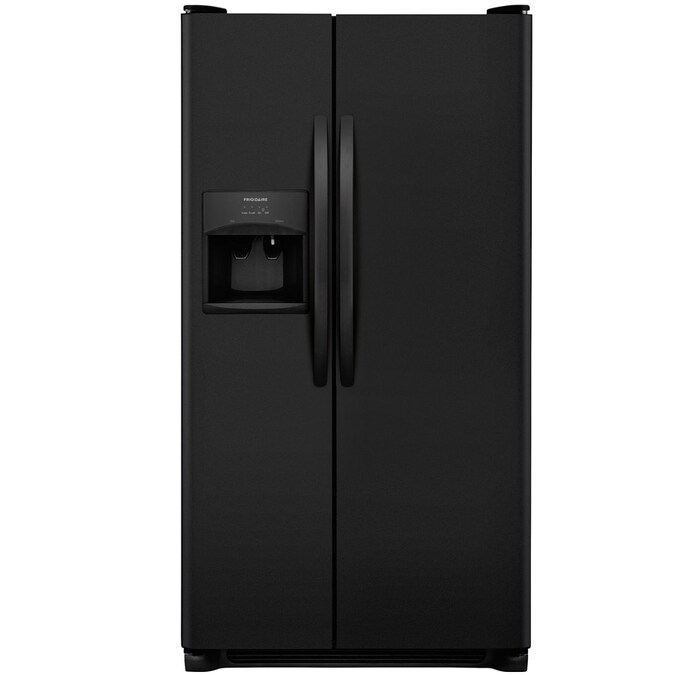 Frigidaire 25 5 Cu Ft Side By Side Refrigerator With Ice Maker Black In The Side By Side Refrigerators Department At Lowes Com