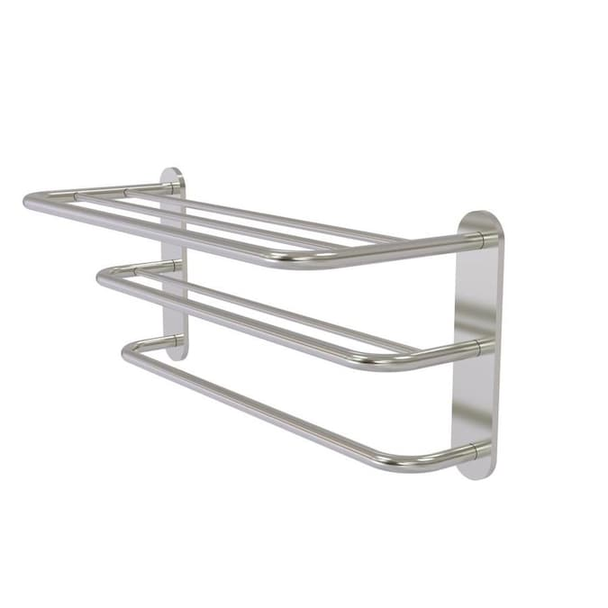 Allied Brass Three Tier Hotel Style Towel Shelf With Drying Rack In Satin Nickel In The Towel Racks Department At Lowes Com
