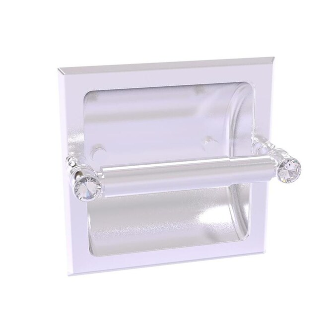 Allied Brass Carolina Crystal Satin Chrome Recessed Double Post Toilet Paper Holder In The Toilet Paper Holders Department At Lowes Com