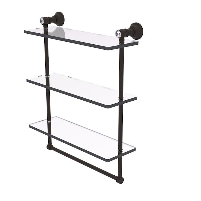 Allied Brass Carolina Crystal Oil Rubbed Bronze 2 Tier Brass Wall Mount Bathroom Shelf In The Bathroom Shelves Department At Lowes Com