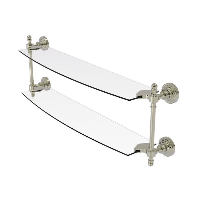 Allied Brass Retro Wave Polished Nickel 2 Tier Brass Wall Mount Bathroom Shelf In The Bathroom Shelves Department At Lowes Com