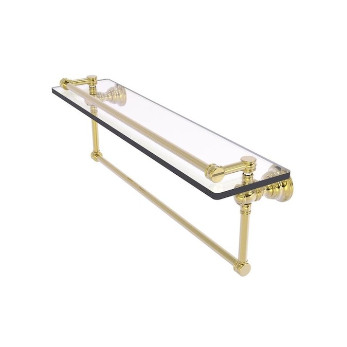 Allied Brass Carolina Unlacquered Brass 1 Tier Brass Wall Mount Bathroom Shelf In The Bathroom Shelves Department At Lowes Com