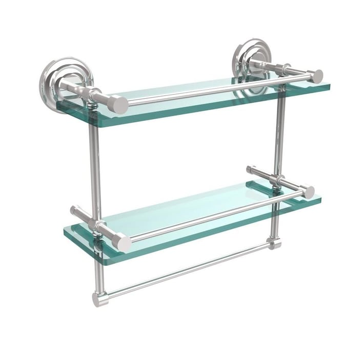 Allied Brass Que New Polished Chrome 2 Tier Brass Wall Mount Bathroom Shelf In The Bathroom Shelves Department At Lowes Com