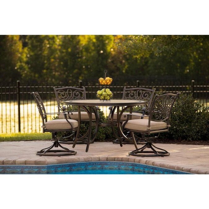 Hanover Monaco 5 Piece Bronze Frame Patio Set With Natural Oat Cushions In The Patio Dining Sets Department At Lowes Com