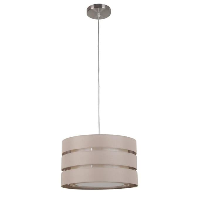 Style Selections Khaki Linen Modern Contemporary Drum Pendant Light In The Pendant Lighting Department At Lowes Com