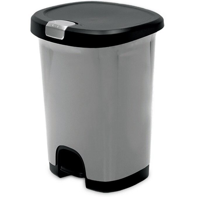 Hefty 7 Gallon Silver Plastic Trash Can With Lid In The Trash Cans Department At Lowes Com