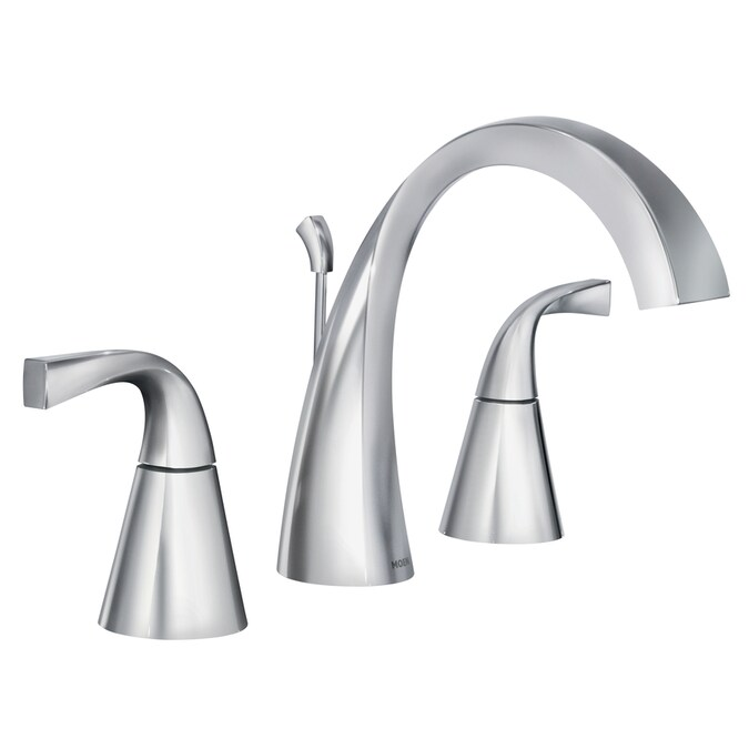 Moen Oxby Chrome 2 Handle Widespread Watersense Bathroom Sink Faucet With Drain In The Bathroom Sink Faucets Department At Lowes Com